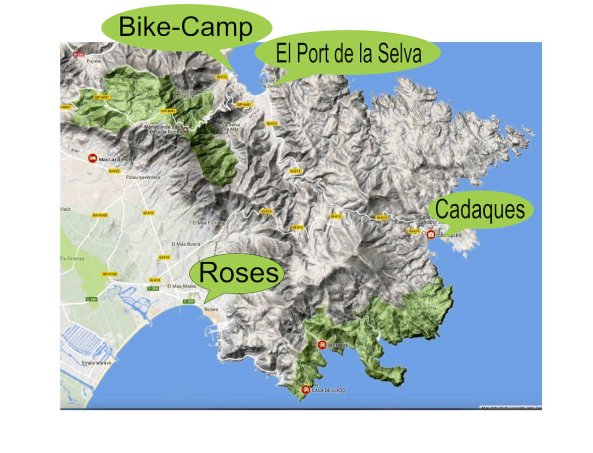 Map für das Bike Camp in Spanien