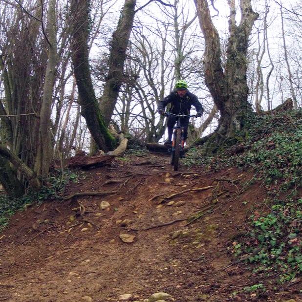 Mountainbiker auf steiler Trailabfahrt